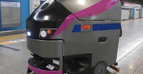 京王、5000系をイメージした自律走行式ロボット床面洗浄機を導入
