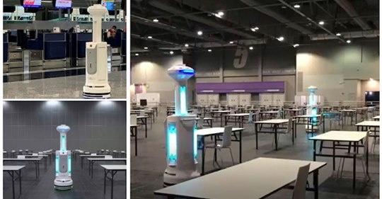 【ビル消毒】中国、香港で稼働中の紫外線照射と除菌剤噴霧の自動ハイブリッドロボット